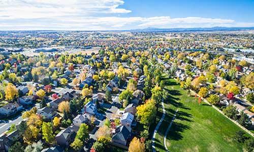 aerial view of neighborhood