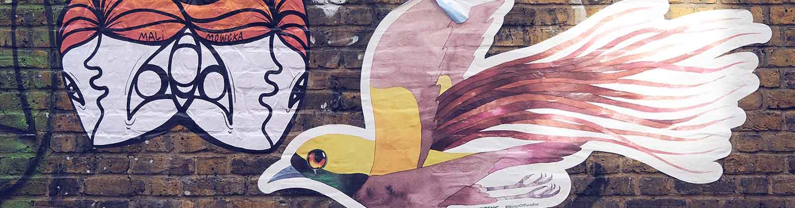 close-up of bird mural