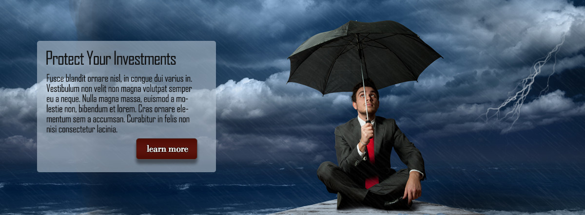 Man in suit sitting with umbrella