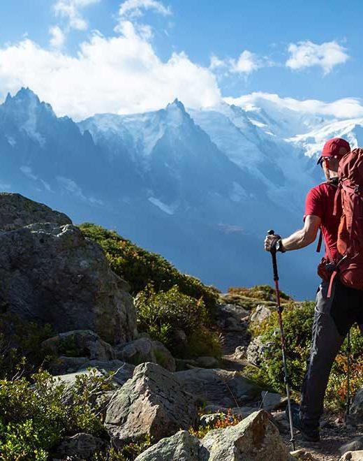 A man hiking on the famous Tour du Mont Blanc